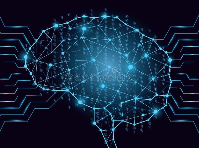Code binaire sous la forme numérique de cerveau composée de lignes, de triangles, d'éléments binaires et de points Style de point illustration libre de droits