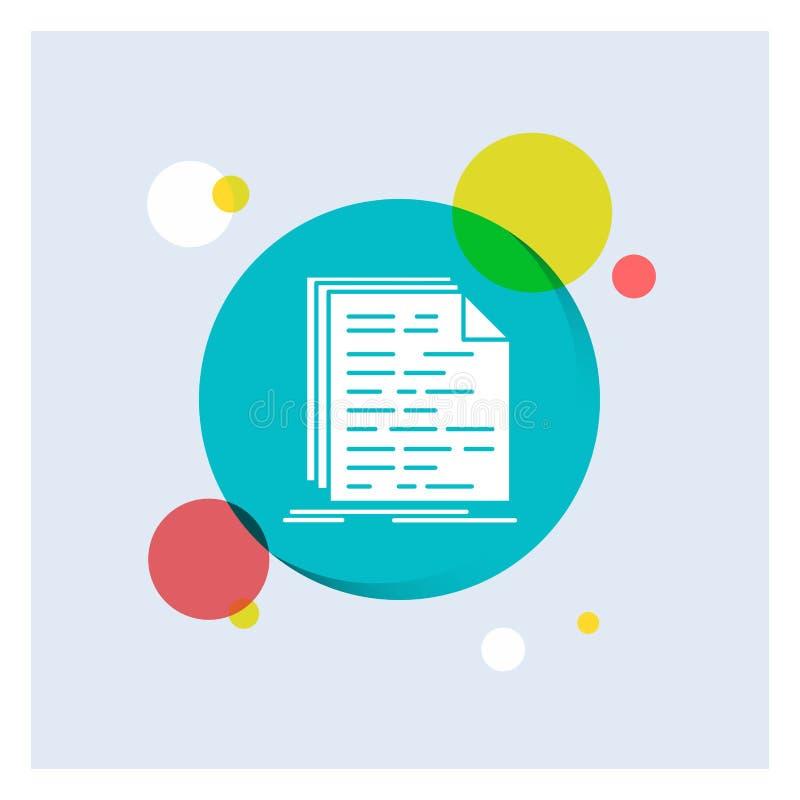 Code, codage, doc., programmering, Achtergrond van de het Pictogram kleurrijke Cirkel van manuscript de Witte Glyph vector illustratie