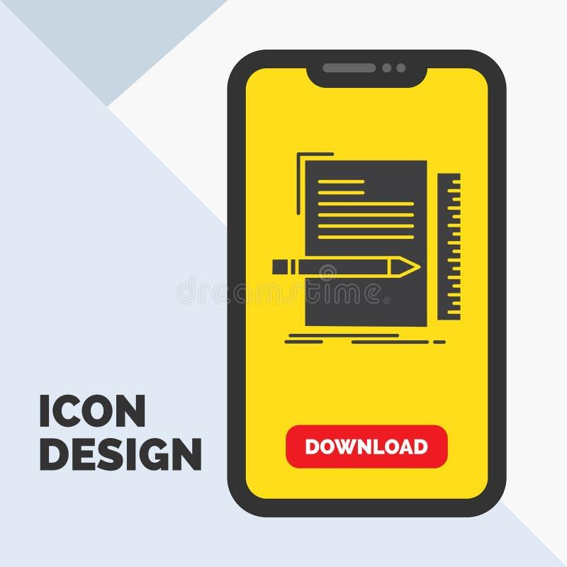 Code, codage, dossier, programmering, het Pictogram van manuscriptglyph in Mobiel voor Downloadpagina Gele achtergrond vector illustratie