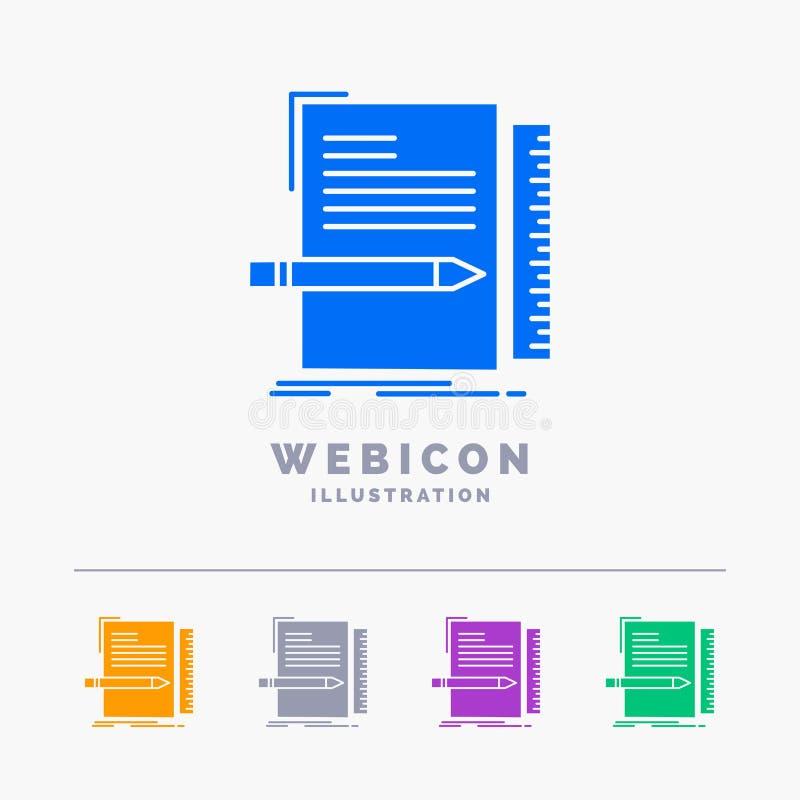 Code, codage, dossier, programmering, manuscript 5 het Malplaatje van het het Webpictogram van Kleurenglyph op wit wordt ge?solee vector illustratie