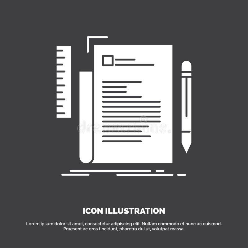 Code, codage, dossier, programmering, manuscriptpictogram glyph vectorsymbool voor UI en UX, website of mobiele toepassing stock illustratie