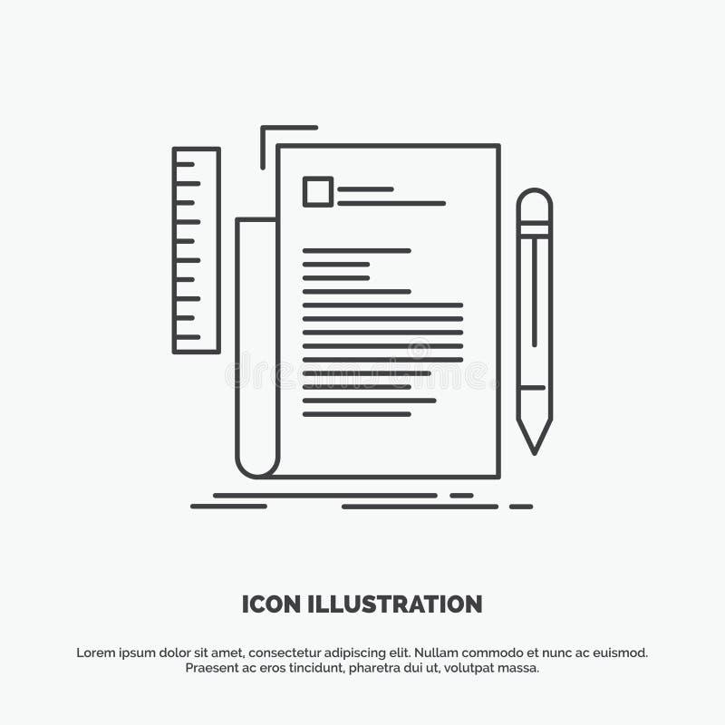 Code, codage, dossier, programmering, manuscriptpictogram Lijn vector grijs symbool voor UI en UX, website of mobiele toepassing stock illustratie
