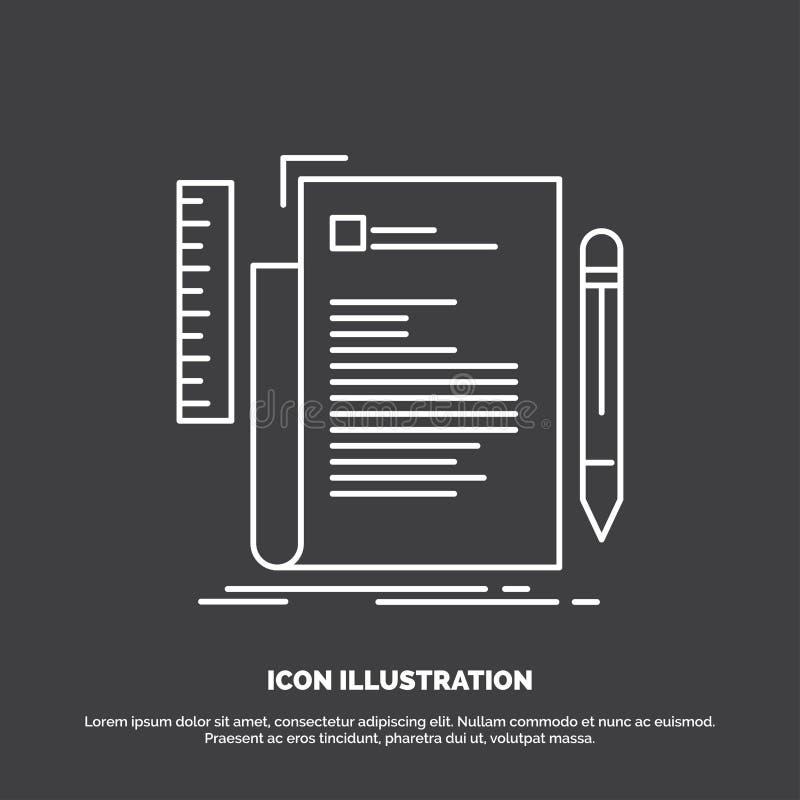 Code, codage, dossier, programmering, manuscriptpictogram Lijn vectorsymbool voor UI en UX, website of mobiele toepassing vector illustratie