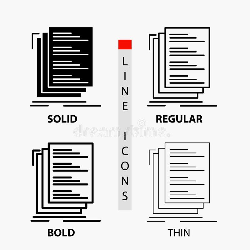 Code, coding, compile, files, list Icon in Thin, Regular, Bold Line and Glyph Style. Vector illustration vector illustration