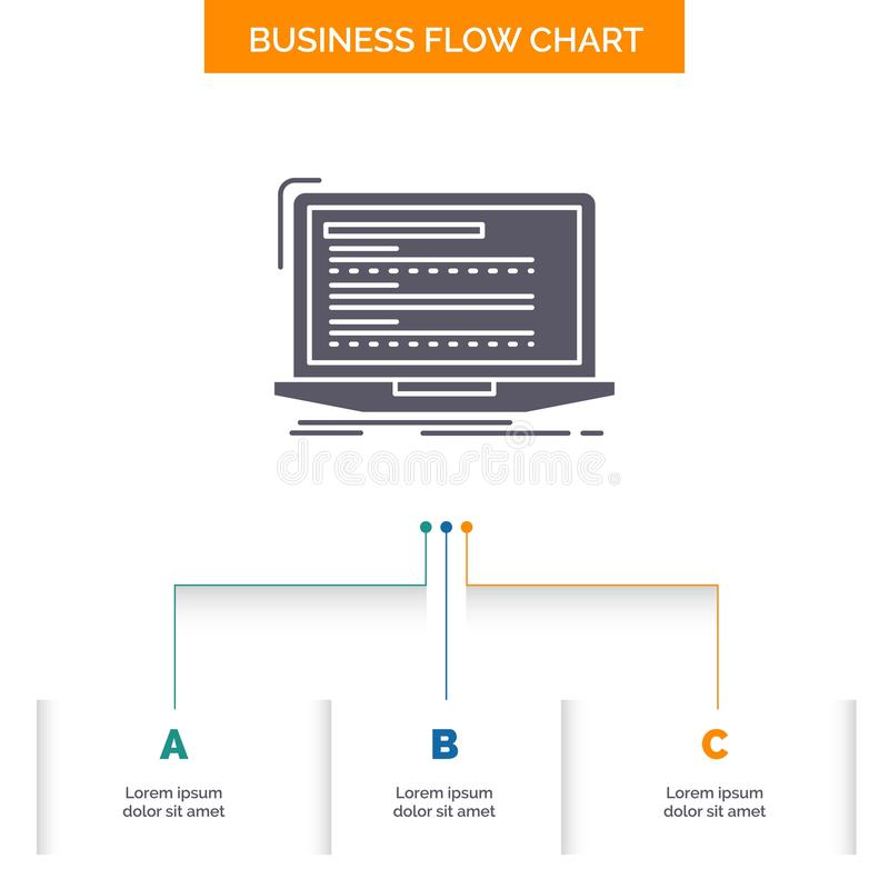 Code, coding, computer, monoblock, laptop Business Flow Chart Design with 3 Steps. Glyph Icon For Presentation Background Template. Place for text.. Vector stock illustration