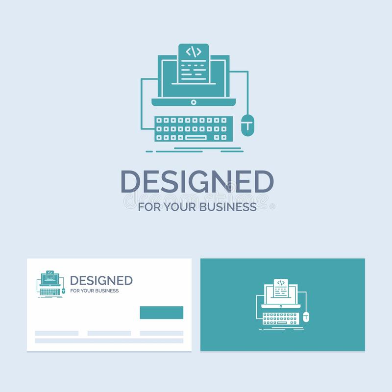 Code, coding, computer, monoblock, screen Business Logo Glyph Icon Symbol for your business. Turquoise Business Cards with Brand. Logo template.. Vector EPS10 stock illustration