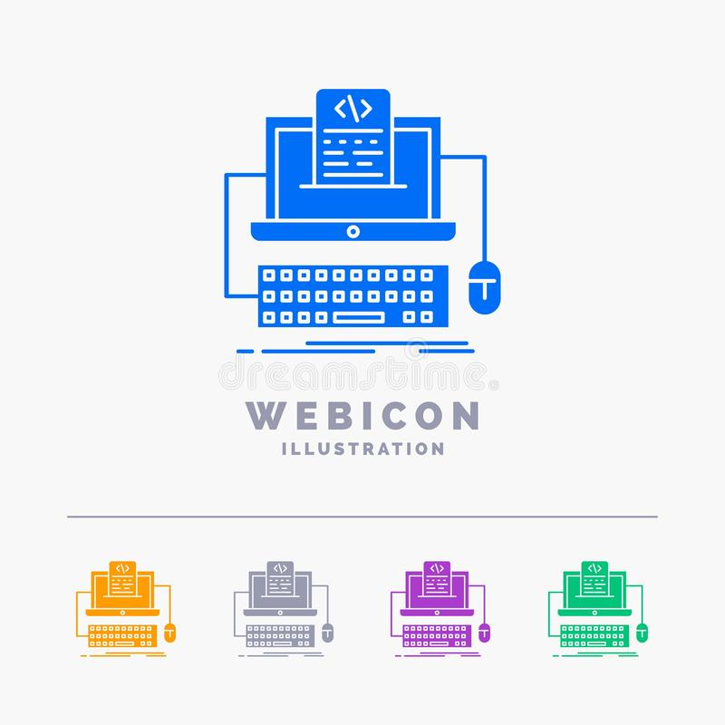 Code, coding, computer, monoblock, screen 5 Color Glyph Web Icon Template isolated on white. Vector illustration. Vector EPS10 Abstract Template background royalty free illustration