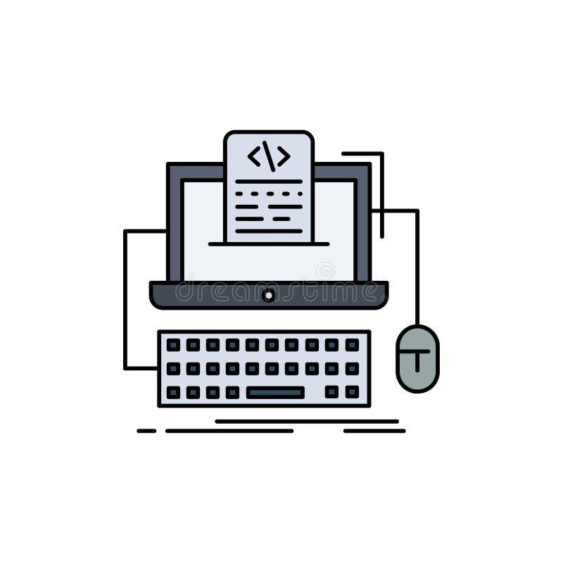 Code, coding, computer, monoblock, screen Flat Color Icon Vector royalty free illustration