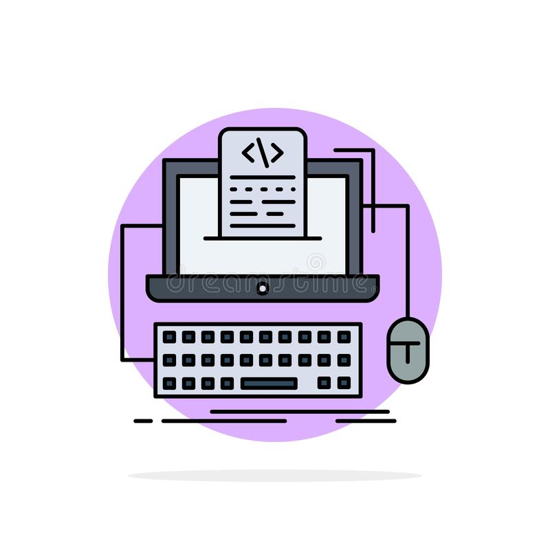 Code, coding, computer, monoblock, screen Flat Color Icon Vector stock illustration