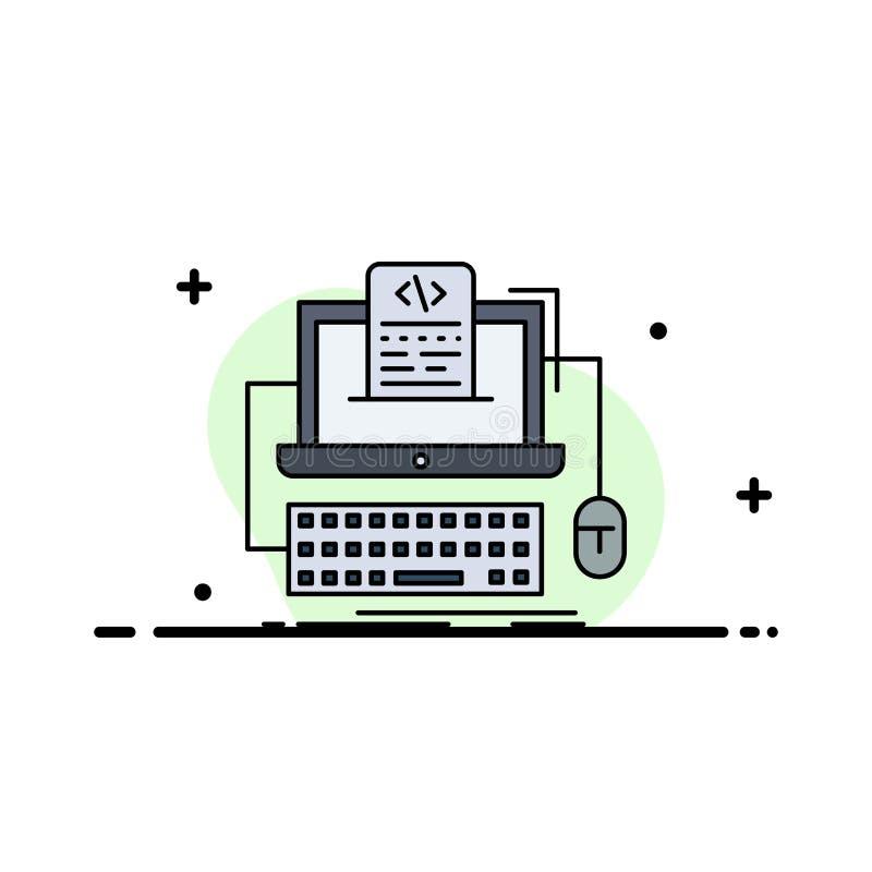 Code, coding, computer, monoblock, screen Flat Color Icon Vector vector illustration