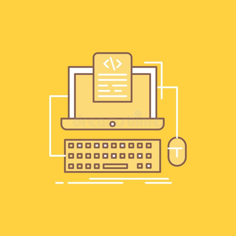 Code, coding, computer, monoblock, screen Flat Line Filled Icon. Beautiful Logo button over yellow background for UI and UX,. Website or mobile application stock illustration
