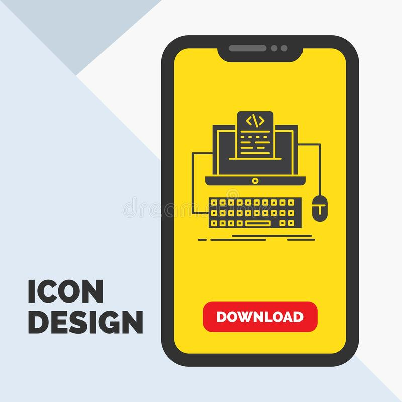 Code, coding, computer, monoblock, screen Glyph Icon in Mobile for Download Page. Yellow Background. Vector EPS10 Abstract Template background vector illustration