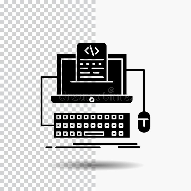 Code, coding, computer, monoblock, screen Glyph Icon on Transparent Background. Black Icon. Vector EPS10 Abstract Template background royalty free illustration