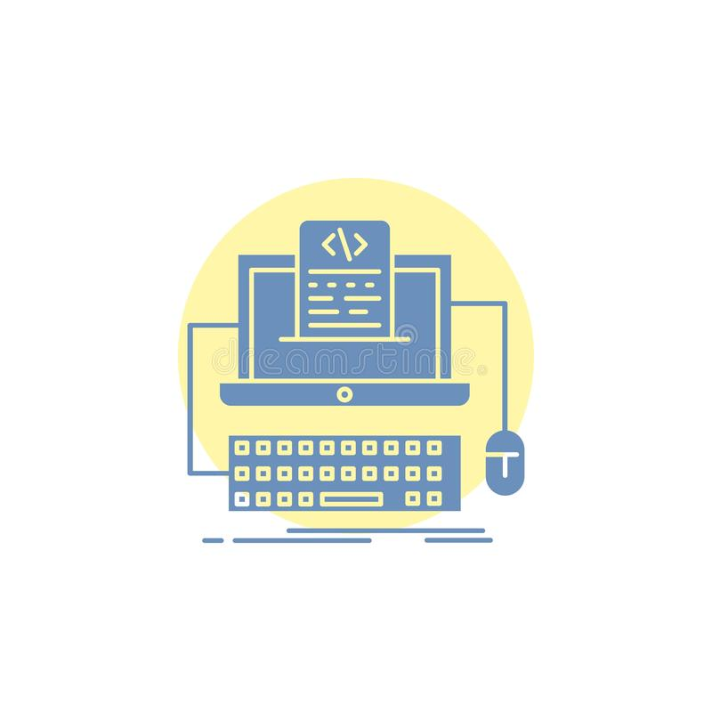 Code, coding, computer, monoblock, screen Glyph Icon. Vector EPS10 Abstract Template background royalty free illustration