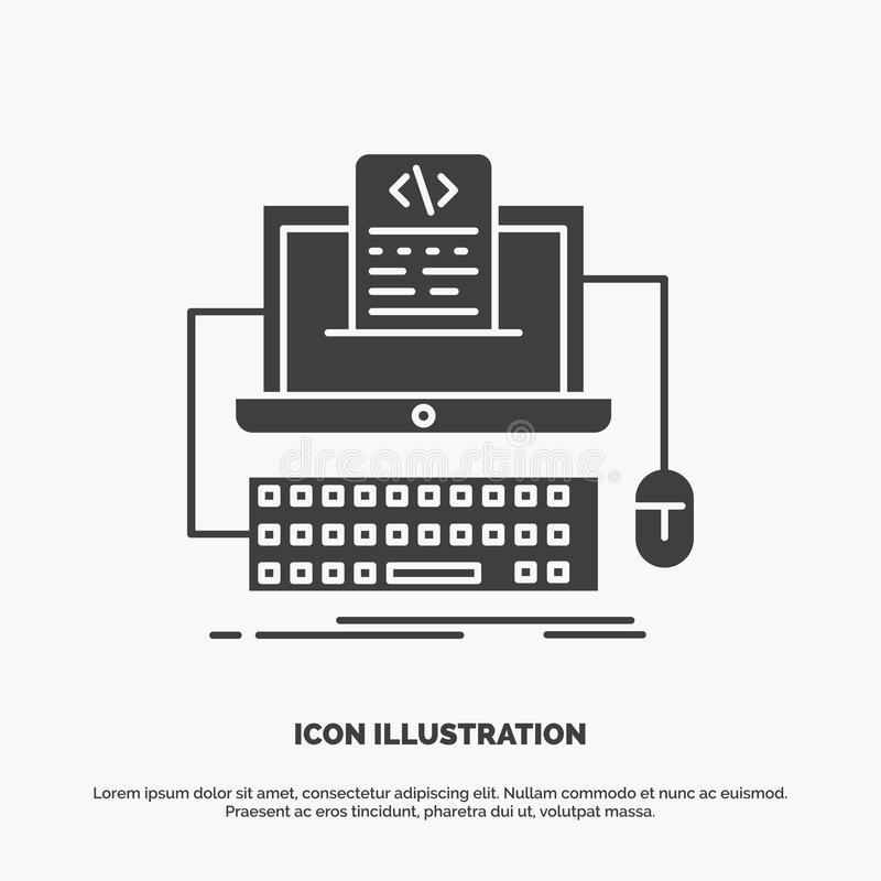 Code, coding, computer, monoblock, screen Icon. glyph vector gray symbol for UI and UX, website or mobile application. Vector EPS10 Abstract Template vector illustration