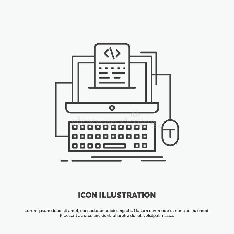 Code, coding, computer, monoblock, screen Icon. Line vector gray symbol for UI and UX, website or mobile application. Vector EPS10 Abstract Template background vector illustration