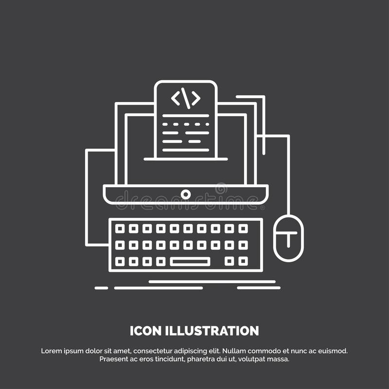 Code, coding, computer, monoblock, screen Icon. Line vector symbol for UI and UX, website or mobile application. Vector EPS10 Abstract Template background vector illustration