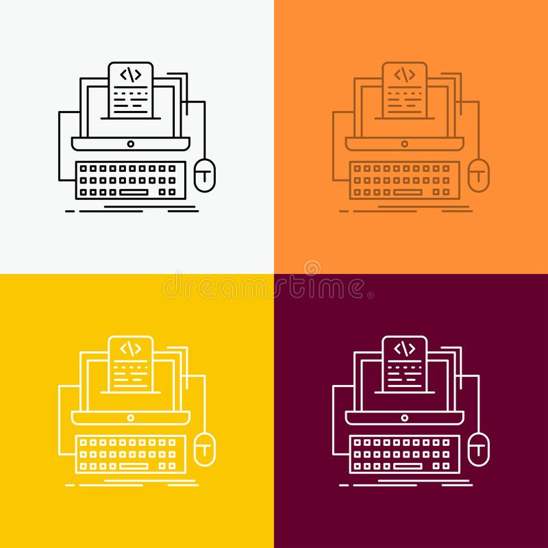 Code, coding, computer, monoblock, screen Icon Over Various Background. Line style design, designed for web and app. Eps 10 vector. Illustration. Vector EPS10 stock illustration