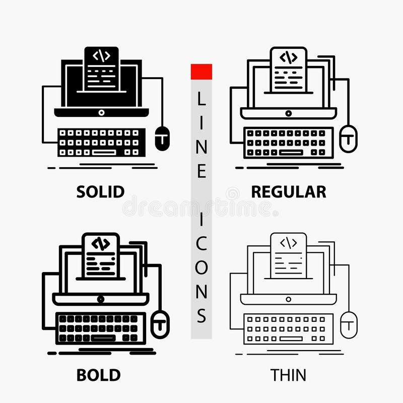Code, coding, computer, monoblock, screen Icon in Thin, Regular, Bold Line and Glyph Style. Vector illustration. Vector EPS10 Abstract Template background royalty free illustration