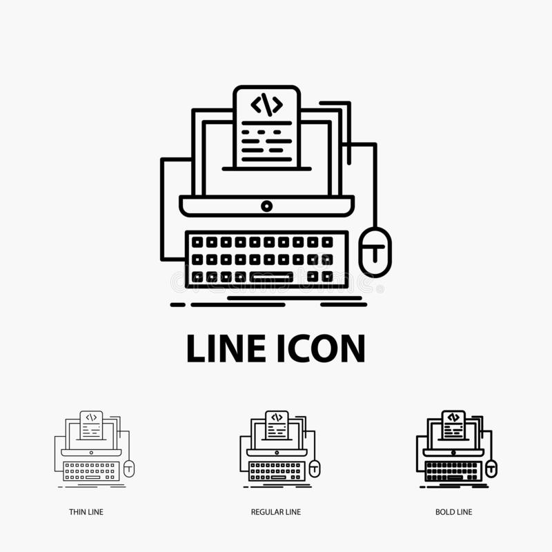 Code, coding, computer, monoblock, screen Icon in Thin, Regular and Bold Line Style. Vector illustration. Vector EPS10 Abstract Template background royalty free illustration