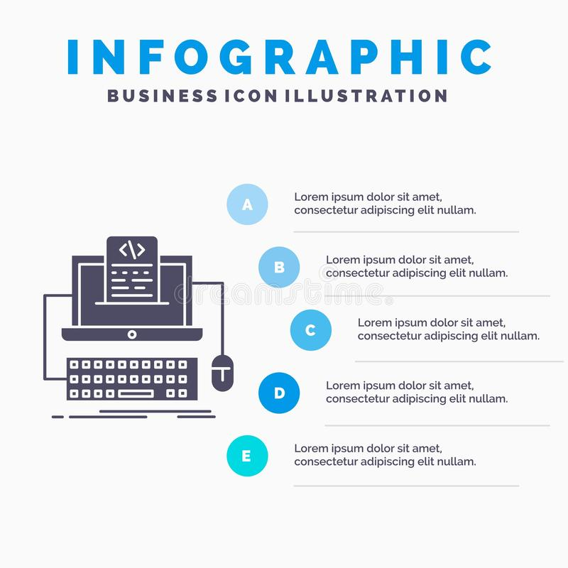 Code, coding, computer, monoblock, screen Infographics Template for Website and Presentation. GLyph Gray icon with Blue. Infographic style vector illustration royalty free illustration