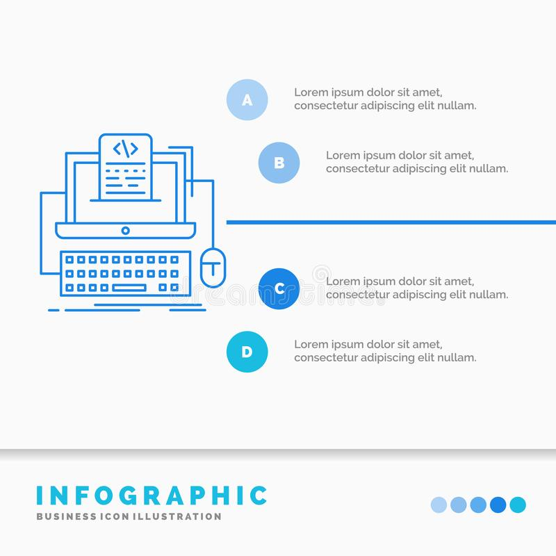 Code, coding, computer, monoblock, screen Infographics Template for Website and Presentation. Line Blue icon infographic style. Vector illustration. Vector vector illustration