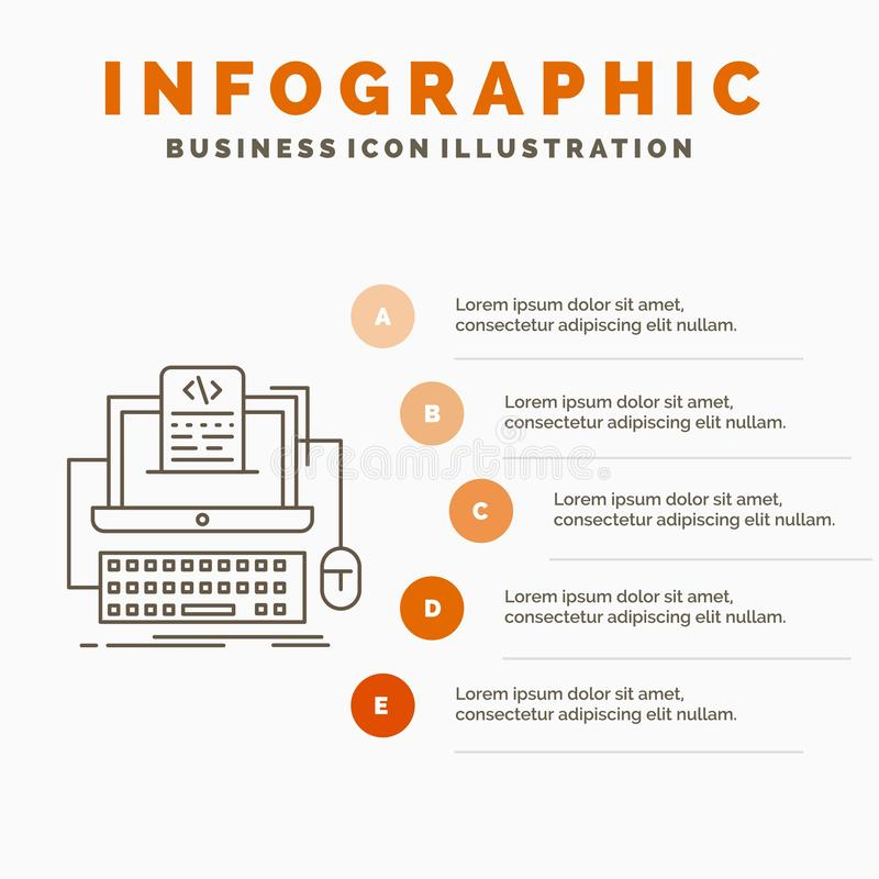 Code, coding, computer, monoblock, screen Infographics Template for Website and Presentation. Line Gray icon with Orange. Infographic style vector illustration stock illustration