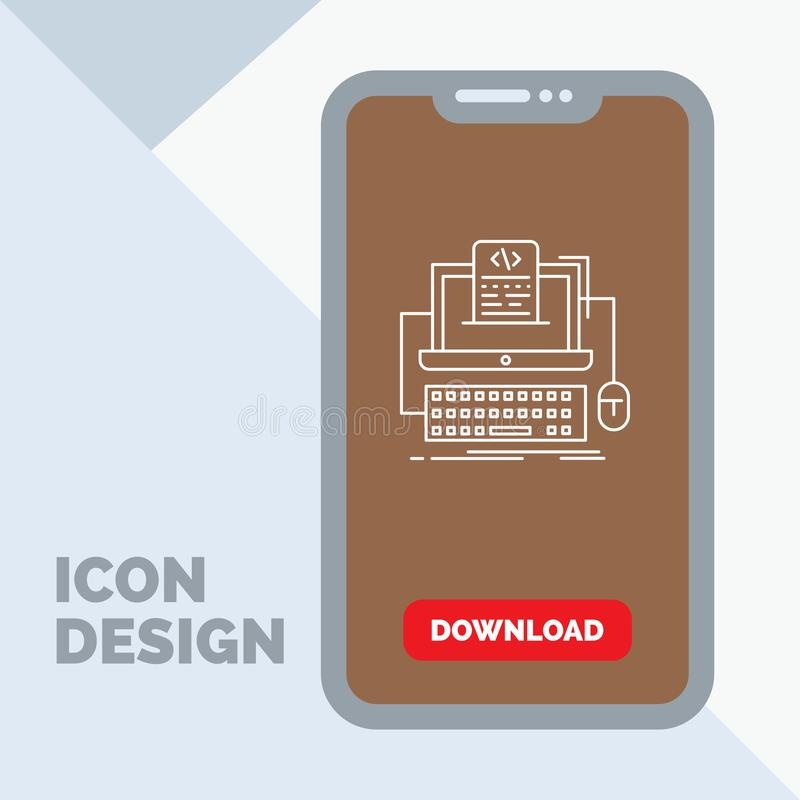 Code, coding, computer, monoblock, screen Line Icon in Mobile for Download Page. Vector EPS10 Abstract Template background royalty free illustration