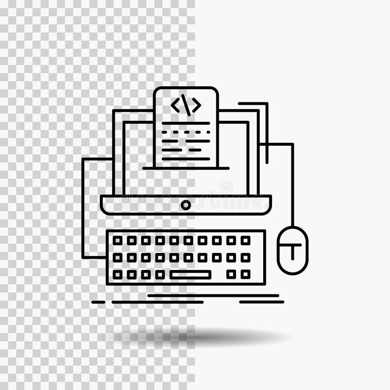 Code, coding, computer, monoblock, screen Line Icon on Transparent Background. Black Icon Vector Illustration. Vector EPS10 Abstract Template background vector illustration