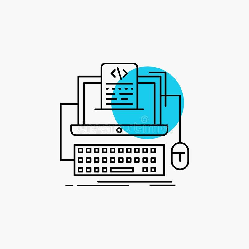 Code, coding, computer, monoblock, screen Line Icon. Vector EPS10 Abstract Template background vector illustration