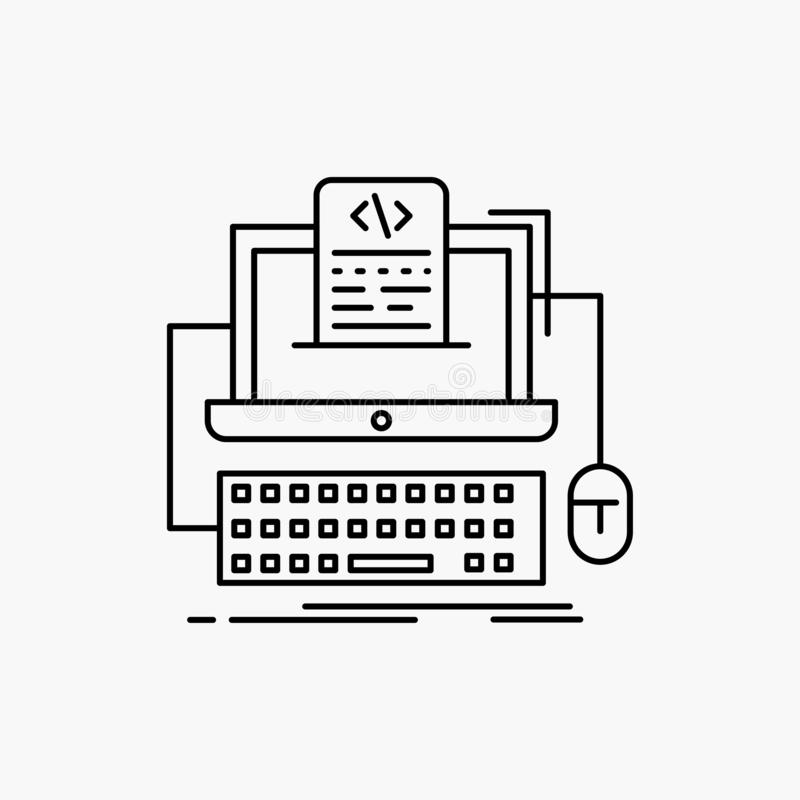 Code, coding, computer, monoblock, screen Line Icon. Vector isolated illustration. Vector EPS10 Abstract Template background stock illustration