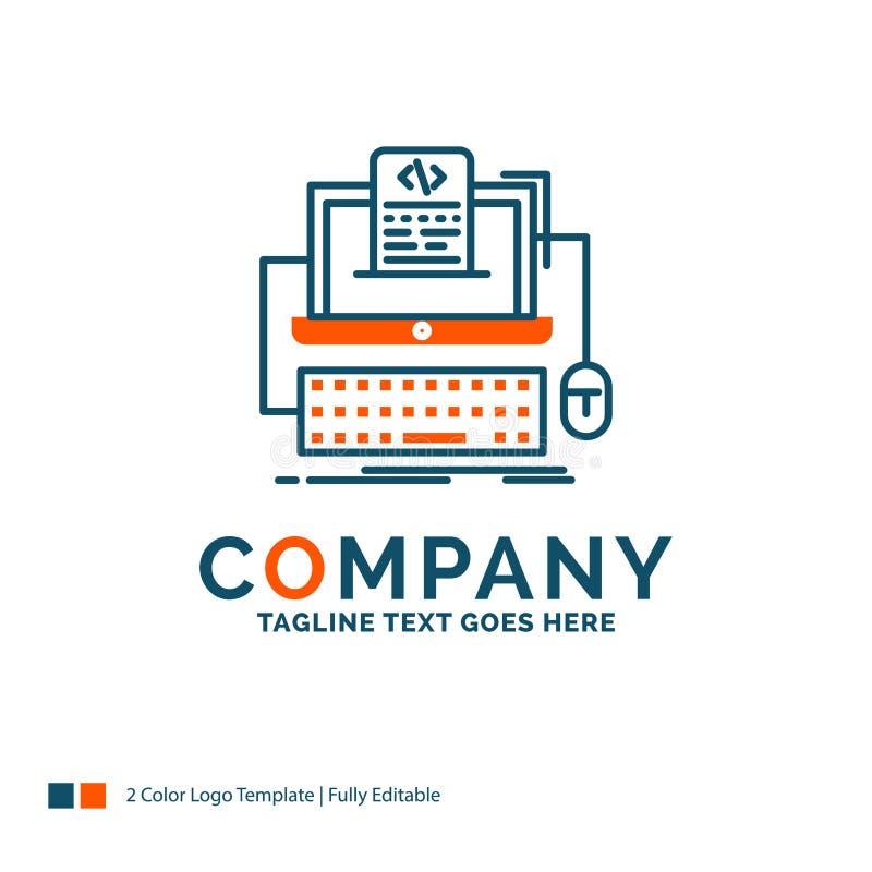 Code, coding, computer, monoblock, screen Logo Design. Blue and. Orange Brand Name Design. Place for Tagline. Business Logo template stock illustration
