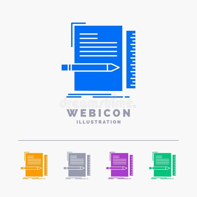 Code, coding, file, programming, script 5 Color Glyph Web Icon Template isolated on white. Vector illustration. Vector EPS10 Abstract Template background vector illustration