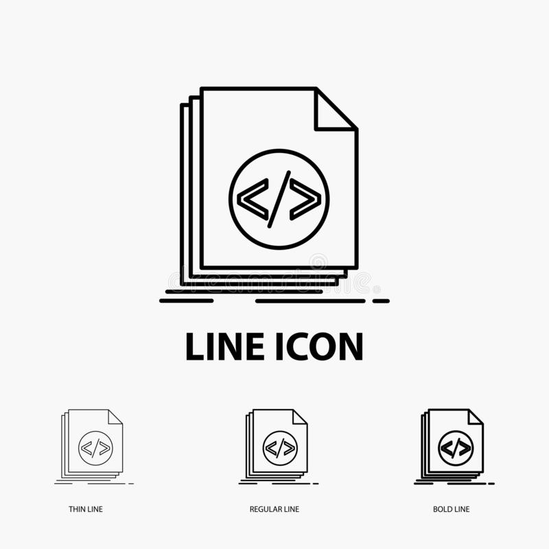 Code, coding, file, programming, script Icon in Thin, Regular and Bold Line Style. Vector illustration. Vector EPS10 Abstract Template background stock illustration
