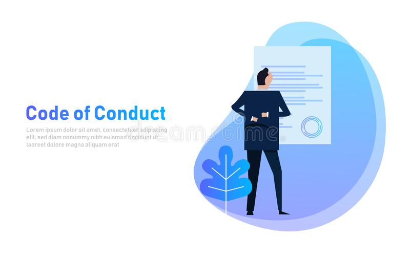 Code of Conduct. business man looking at paper. Concept of ethical integrity value and ethics. Illustration symbol royalty free illustration