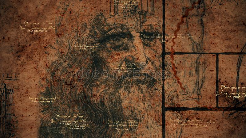 Code Da Vinci, Portrait and Clever Quotes. A wise 3d illustration of code Da Vinci placed in a golden ratio, black squares, brainy quotes and the portrait of the stock illustration