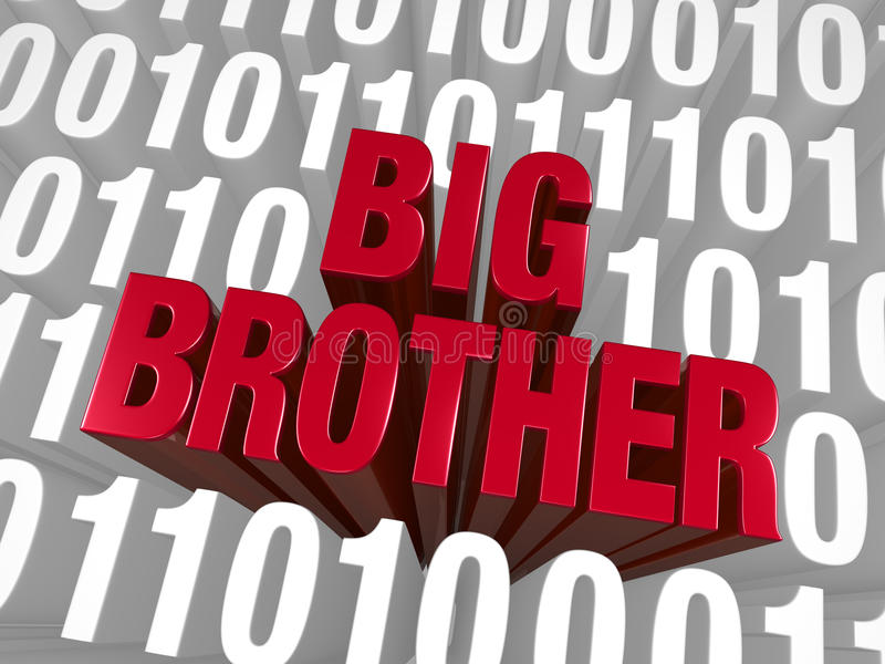 Code de Big Brother Emerges From Computer illustration stock