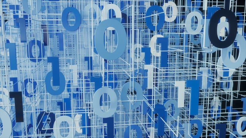 Code de binare de Digital - rendu 3D photos libres de droits