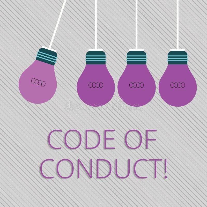 Code de conduite des textes d'écriture de Word Concept d'affaires pour des principes Follow et normes pour la couleur d'intégrité illustration de vecteur