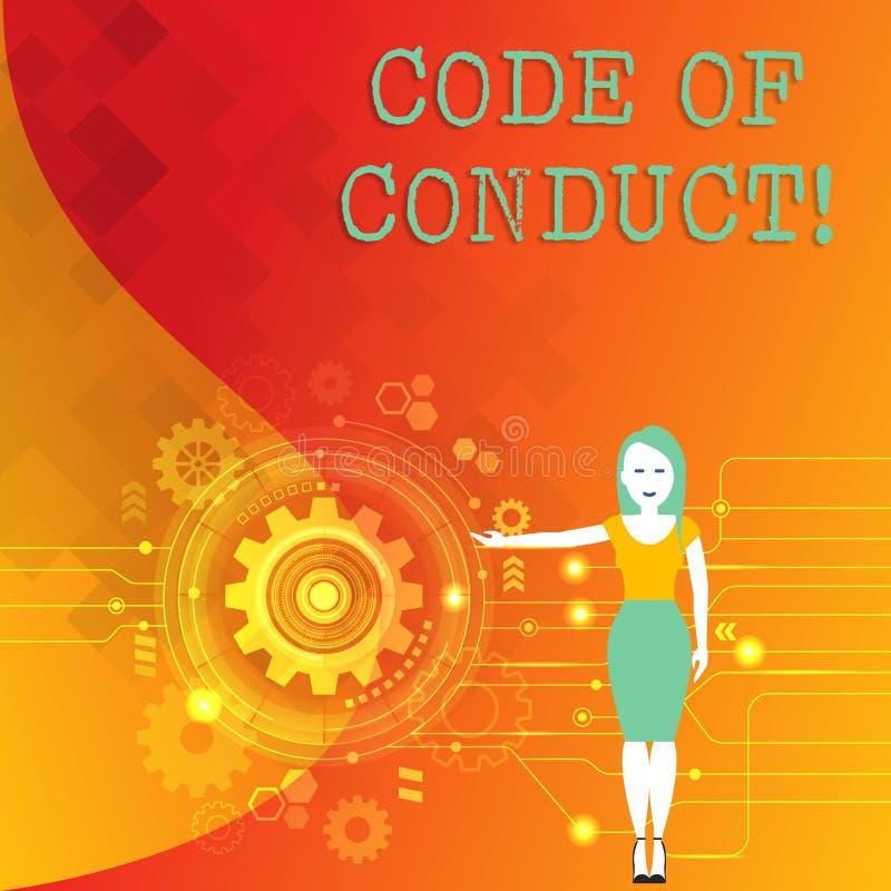 Code de conduite des textes d'écriture de Word Concept d'affaires pour des principes Follow et normes pour la femme d'intégrité d illustration stock