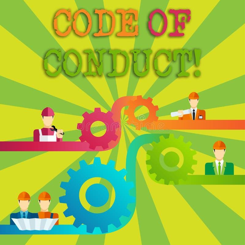 Code de conduite des textes d'écriture de Word Concept d'affaires pour des principes Follow et normes pour la vitesse de dent d'i illustration libre de droits