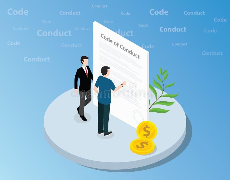 Code de conduite isométrique le concept avec l'homme d'affaires se tenant ensemble sur l'avant du texte et lisant - vecteur illustration libre de droits