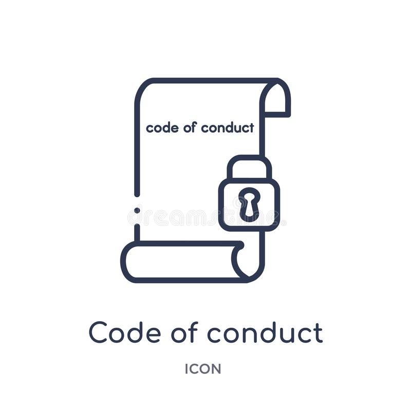 Code de conduite linéaire l'icône de la collection d'ensemble de Gdpr Ligne mince code de conduite l'icône d'isolement sur le fon illustration de vecteur