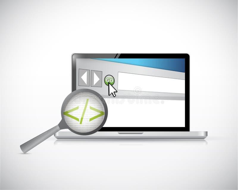 Code de données d'ordinateur portable et de navigateur à l'étude. illustration de vecteur