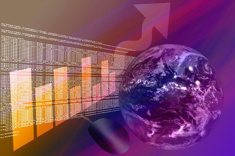 Code de HTML avec le globe et la flèche de graphique vers le haut