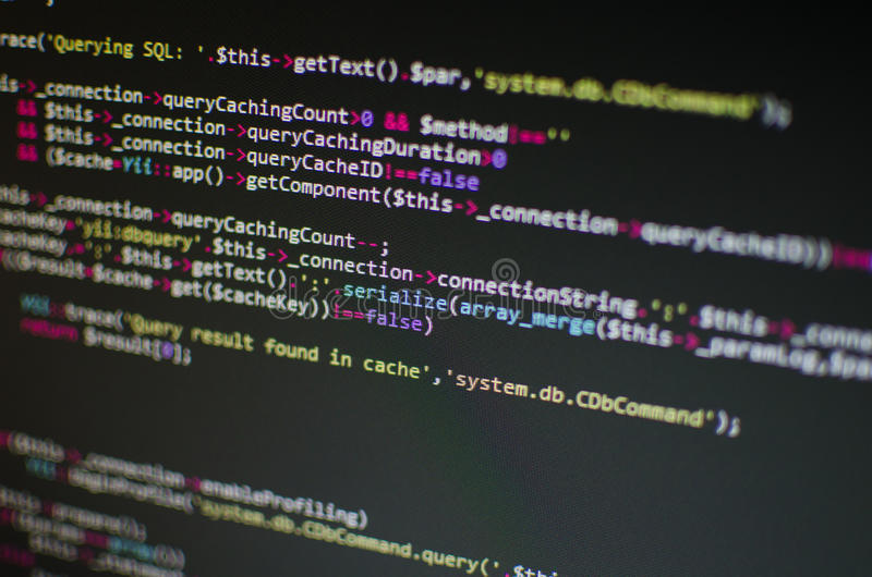 Code de PHP CSS dans l'ordinateur photo libre de droits