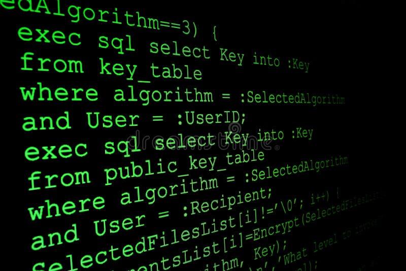 Code de programme sur un moniteur illustration libre de droits
