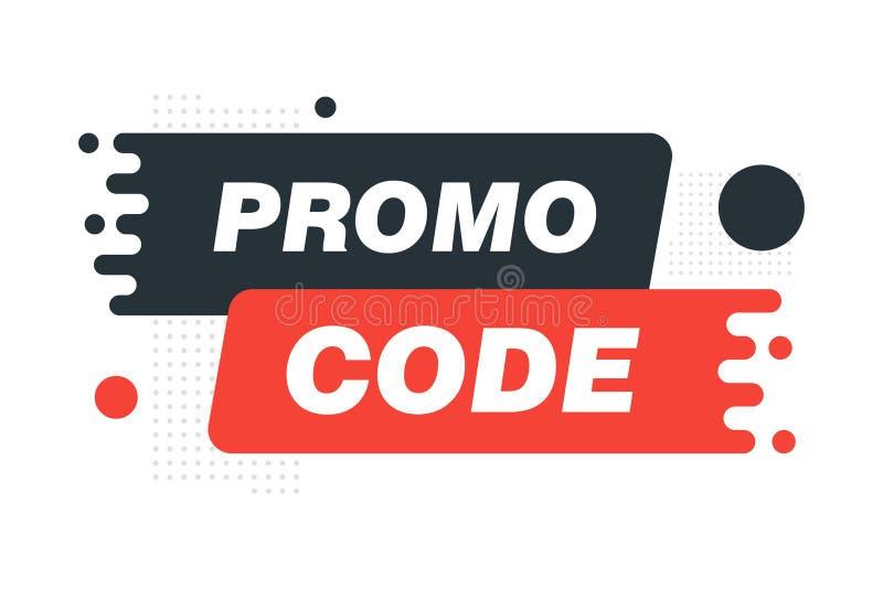 Code de promo, code de bon Illustration plate de sc?nographie de vecteur sur le fond blanc photographie stock