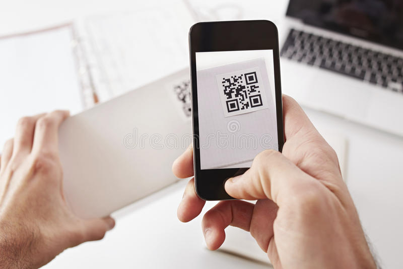 Code de Smartphone QR photos stock