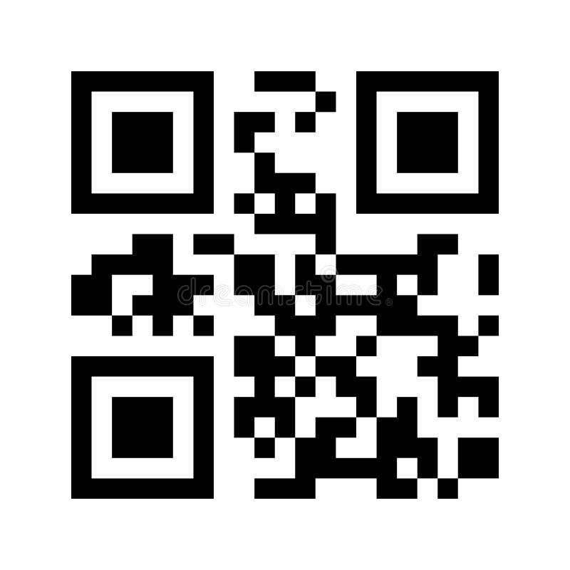 Code des Beispiel QR lokalisiert auf weißem Hintergrund Flaches Gestaltungselement für mobilen App, Klein-, on-line-Einkaufen vektor abbildung